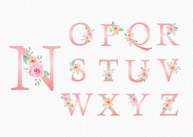 Alfabeto dalla n alla z con ornamenti di rose rosa pesca set di acquerelli