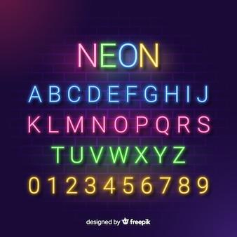 Alfabeto decorativo modello neon stytle