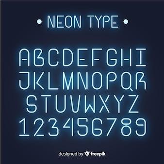 Alfabeto dei caratteri in stile neon