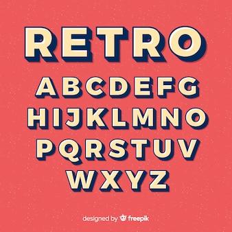 Alfabeto dei caratteri in stile retrò