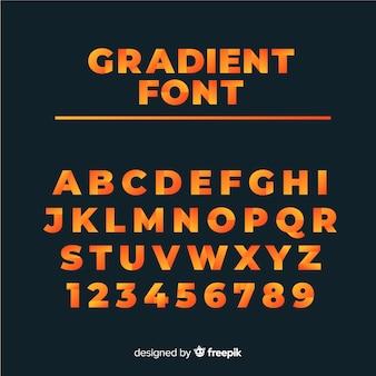 Alfabeto dei caratteri in stile sfumato
