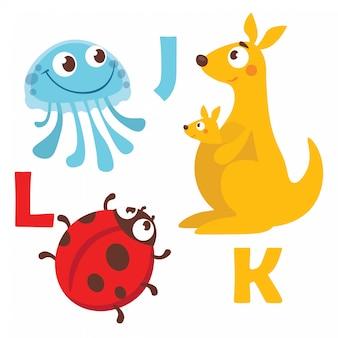 Alfabeto dei cartoni animati animali