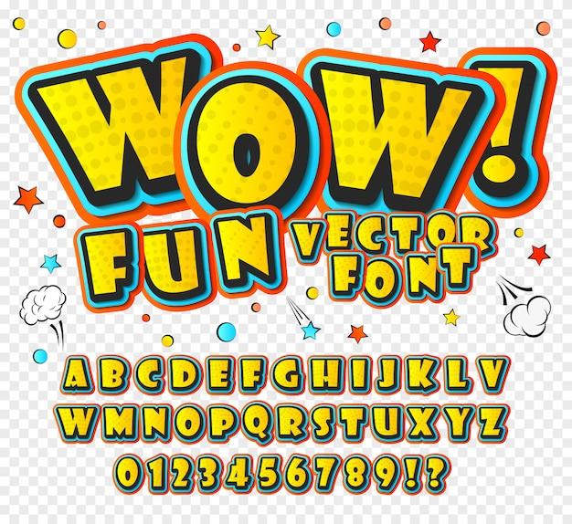 Alfabeto dei cartoni animati in stile di fumetti e stile pop art.