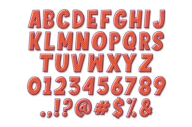 Alfabeto del fumetto semplice pop art
