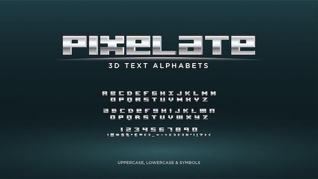 Alfabeto del testo del videogioco pixel