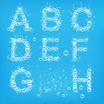 Alfabeto dell'illustrazione delle bolle di sapone