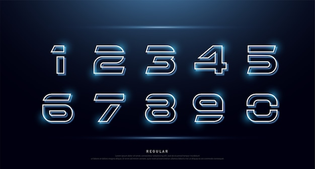 Alfabeto della fonte al neon di numero di tecnologia digitale