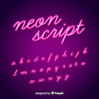 Alfabeto di alfabeto al neon