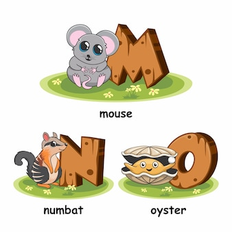 Alfabeto di animali in legno di ostrica di numbat del mouse