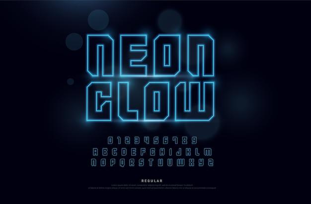 Alfabeto di carattere e numeri di neon di tecnologia