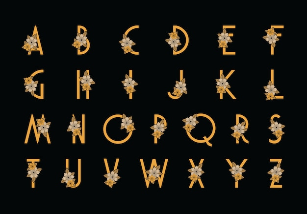 Alfabeto di carattere fiore fiore - vettore di primavera alfabeto con fiori e foglie