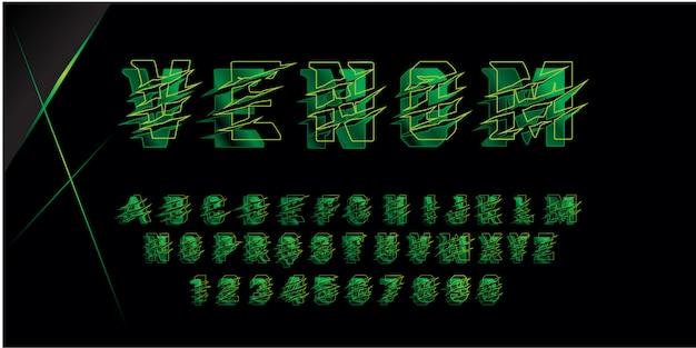 Alfabeto di carattere futuristico veleno