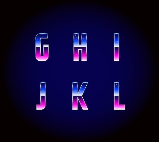 Alfabeto di caratteri fantascientifici retrò futuristico anni '80