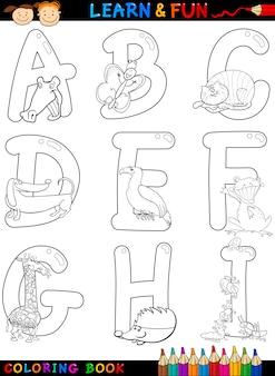 Alfabeto di cartone animato con animali da colorare