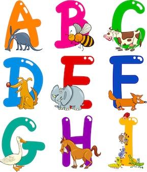 Alfabeto di cartone animato con animali