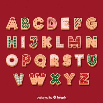 Alfabeto di design di natale di pan di zenzero