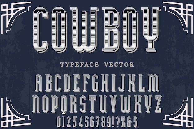 Alfabeto di effetto ombra impostato con cowboy di parola