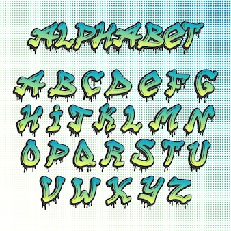 Alfabeto di font grunge graffiti