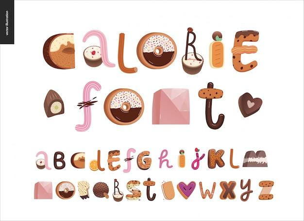 Alfabeto di font tentazione dessert