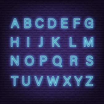 Alfabeto di lettere al neon
