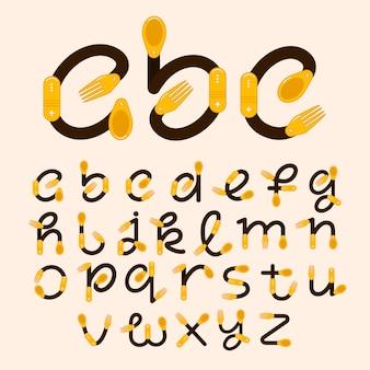 Alfabeto di lettere con cucchiaio e forchetta. illustrazione del logo per la tua identità o ristorante