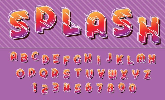 Alfabeto di lettere e numeri di disegno di carattere colorato linee di spruzzata