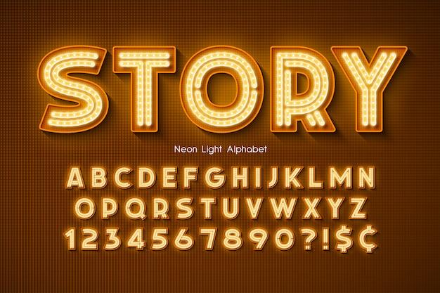 Alfabeto di luce al neon, carattere extra luminoso.