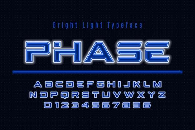 Alfabeto di luce al neon, carattere luminoso extra multicolore.
