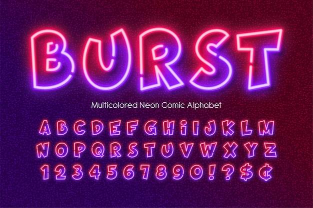 Alfabeto di luce al neon multicolore, tipo di stile fumetto extra luminoso.