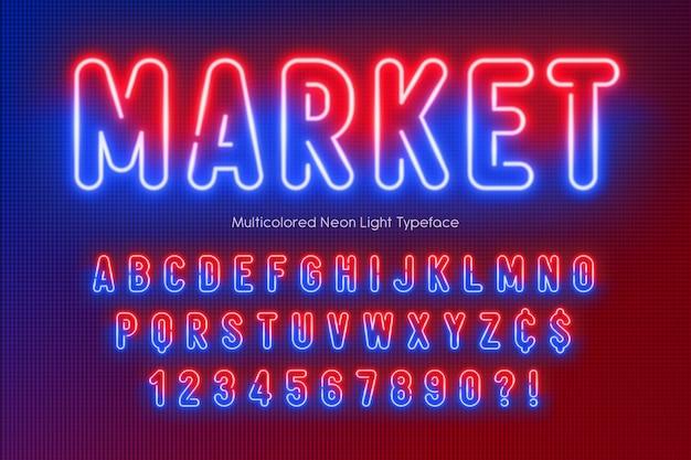 Alfabeto di luce al neon, multicolore.