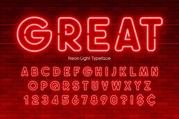 Alfabeto di luce al neon, numeri, carattere extra luminoso