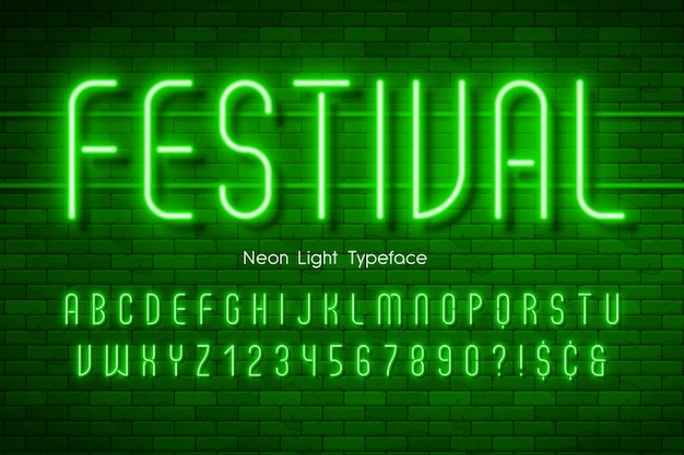 Alfabeto di luce al neon,