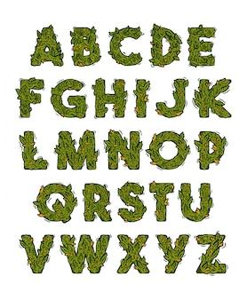 Alfabeto di marijuana verde con caratteri in erba, cannabis, canapa, stilizzazione di gemme.