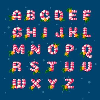 Alfabeto di natale di canna di caramella