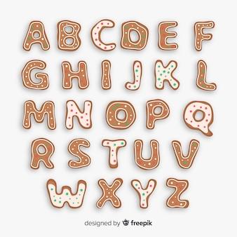 Alfabeto di natale di pan di zenzero