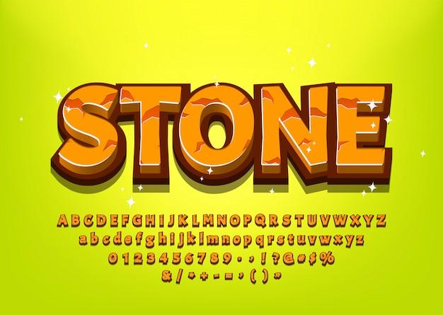 Alfabeto di pietra del fumetto 3d per l'illustrazione di vettore del titolo o del menu del gioco