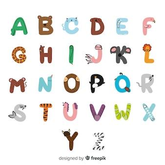 Alfabeto di simpatici animali disegnati a mano