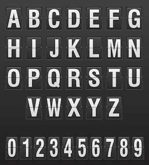 Alfabeto di tabellone segnapunti, lettere e cifre illustrazione vettoriale