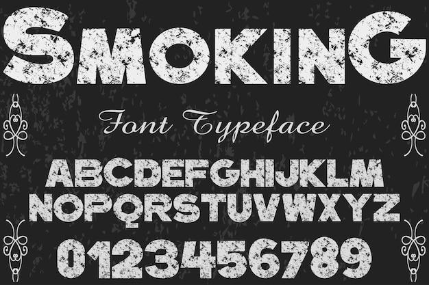 Alfabeto di tipografia di carattere del grunge con il fumo di numeri