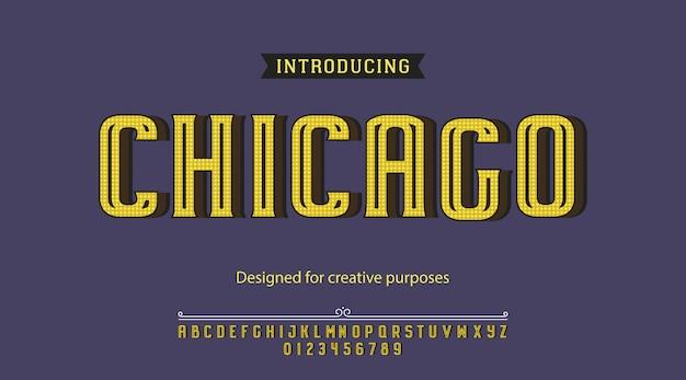 Alfabeto di tipografia di carattere tipografico chicago con lettere e numeri