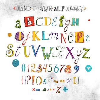 Alfabeto di vettore, carattere disegnato a mano, illustrazione di lettere