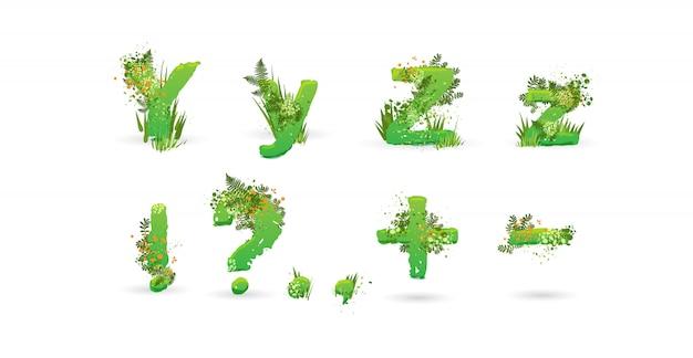 Alfabeto di vettore di foglie verdi. elegante abc con foglie tropicali colorate, cespugli, fiori ed elementi della natura