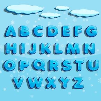 Alfabeto di vettore di inverno con neve.
