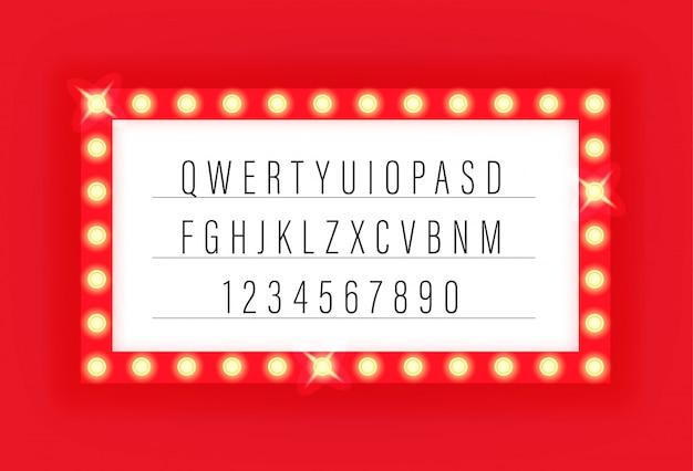 Alfabeto di vettore di retro cinema illuminato telaio con lettere e numeri