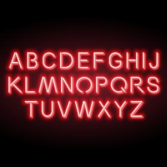 Alfabeto di vettore rosso al neon