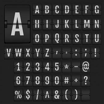 Alfabeto di vibrazione realistico e numeri.