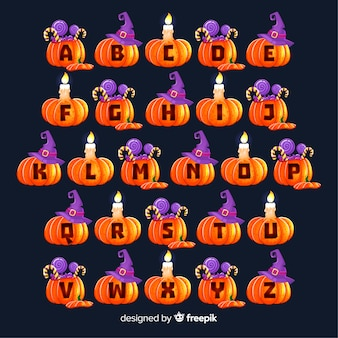 Alfabeto di zucca di halloween carino