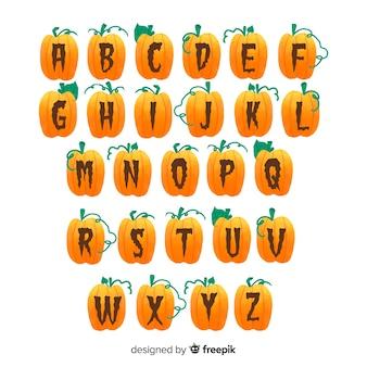 Alfabeto di zucca di halloween su sfondo bianco