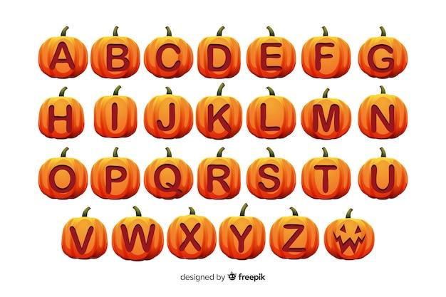 Alfabeto di zucca di halloween