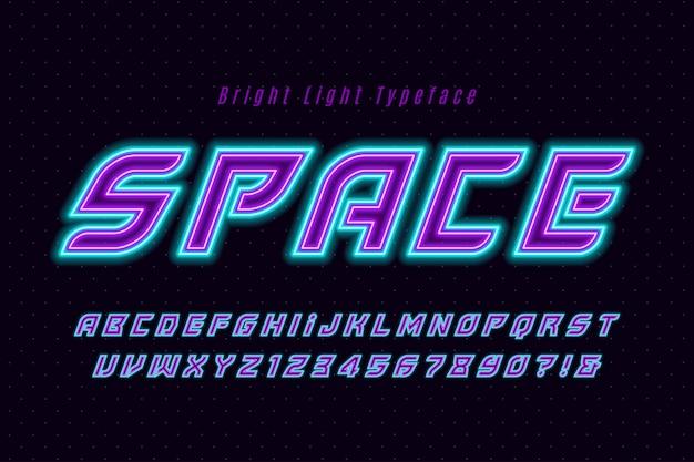 Alfabeto dinamico futuristico, carattere extra luminoso.